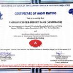 Nexim Bank certificate for AADFI