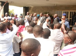 Governor Babatunde Fashola addressing LASU students