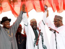 President Goodluck Jonathan at PDP rally in Kano