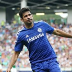 Diego Costa celebrates after scoring his first goal for Chelsea in a friendly v Olimpija Ljubljana.
