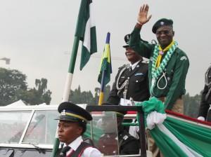 Governor Babatunde Fashola at Nigeria's 54th independence anniversary parade