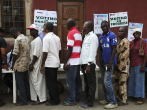 Voters on queue in Nigeria