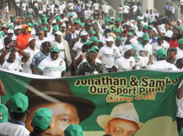 Participants at sports rally for Jonathan
