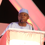 Garba Shehu, Senior Special Assistant on Media and  Publicity to President Buhari delivering President Buhari's goodwill  message