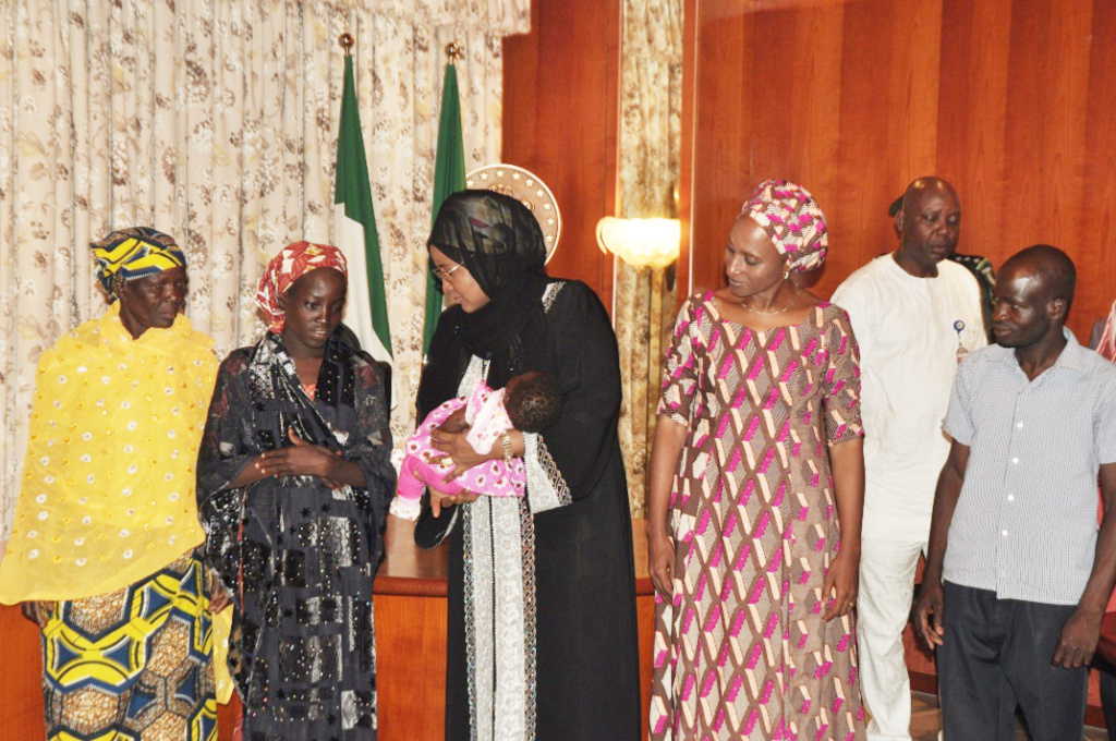 Hajia Buhari Receives Rescued Chibok Schoolgirl