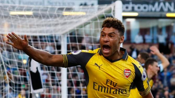 The Eagle Online. Britain Soccer Football - Burnley v Arsenal - Premier  League - Turf Moor - 2 10 16 Arsenal s Alex Oxlade-Chamberlain celebrates  after ... e8d149f23a4ac