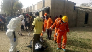 PIC.7. SCENE OF SUICIDE ATTACK IN MAIDUGURI Pic.7. National Emergency Management Agency (NEMA) and other aid workers at the scene of a suicide attack in Maiduguri on Friday on Friday (17/2/17). 01308/17/2/2017/Ali Baba Inuwa/BJO/NAN