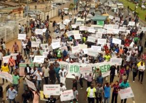 Pic.8. One Voice Nigeria, a Non-Governmental Organisation on a peaceful protest in Lagos on Monday (6/2/17). 00982/6/2/2017/Okoya Olatunde/BJO/NAN