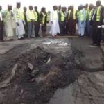 Damaged portion of Abuja airport runway