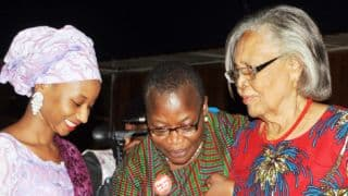 Pic 2. From left: Representative of the Emir of Kano, Saheeda Sanusi; Bring Back Our Girls founder, Dr  Obiageli Ezekwesili and Guest Speaker, Prof Grace Alele Williams during the Inaugural Annual Chibok Girls Lecture in Abuja on Friday (14/4/17). 02239/14/4/2017/Anthony Alabi/NAN