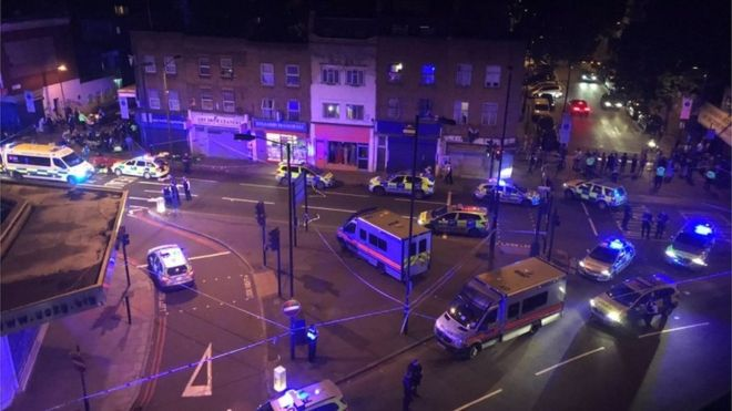 One dead, several injured as van driven through crowd outside London mosque