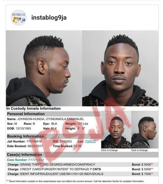 Popular Nigerian singer arrested in US
