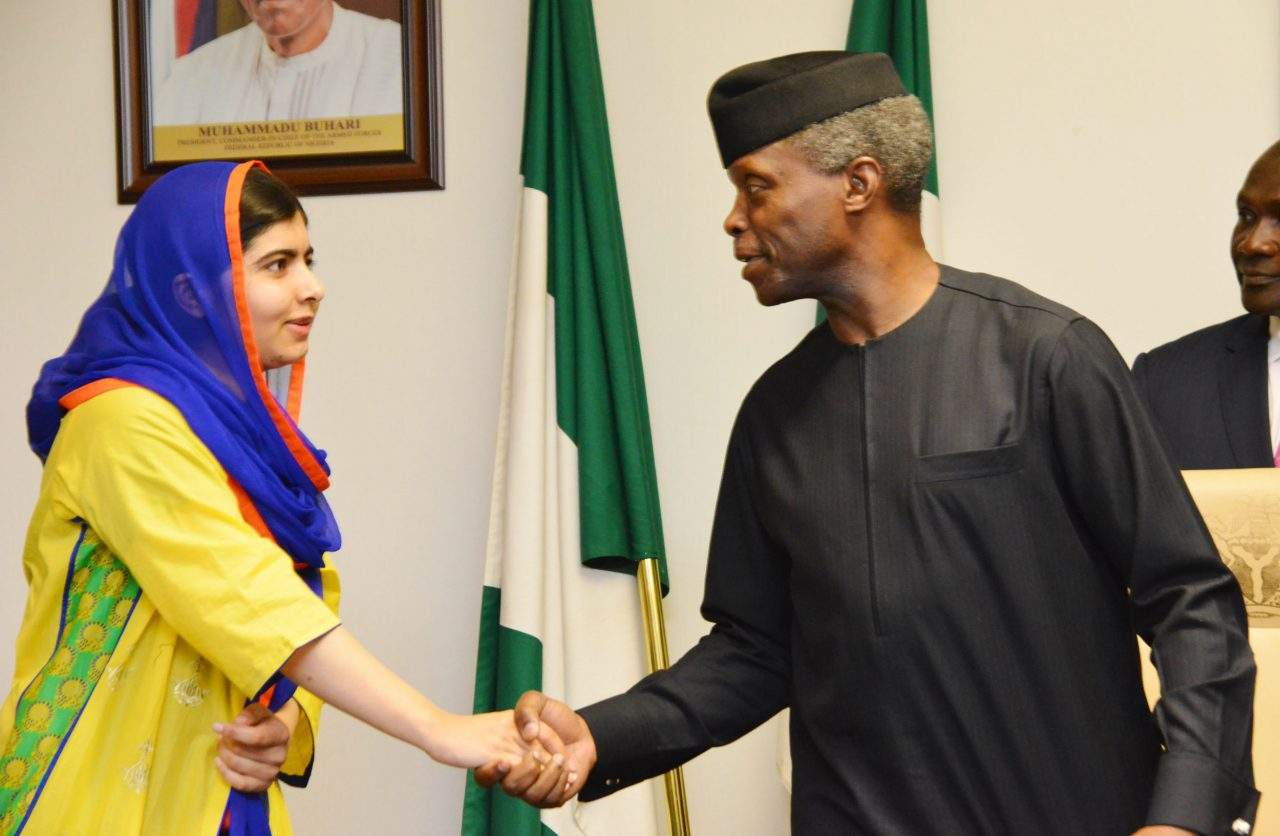 Malala greeted by Chibok schoolgirls in Nigeria