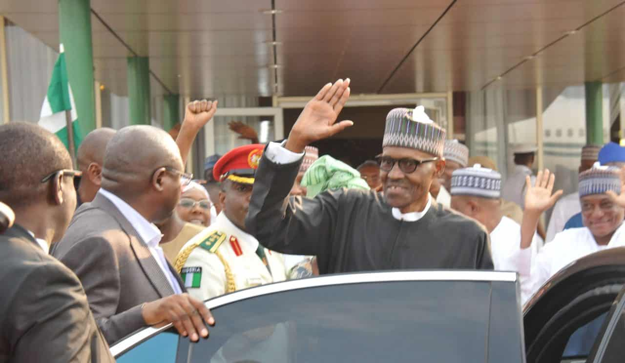 Buhari's arrival from medical vacation in London in photos, video