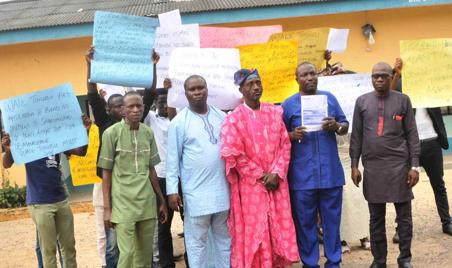 Image result for oando shareholders protest, calls tinubu's resignation