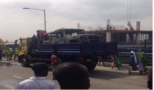 Fayose's G-Wagon caught fire on the way to the Airport