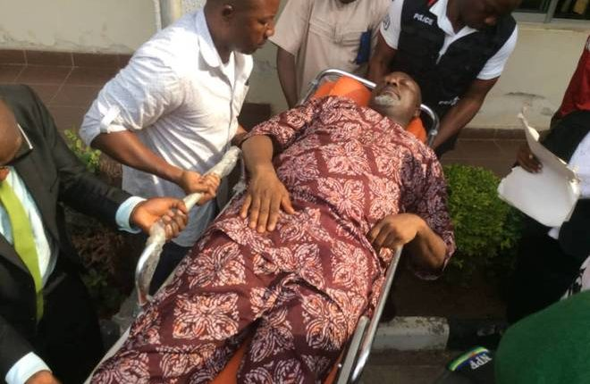 Image result for dino melaye arrived court in ambulance