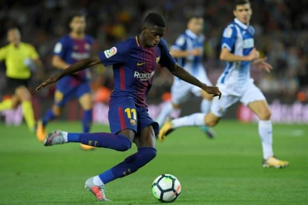 Barcelona's Ousmane Dembele out for month with hamstring injury