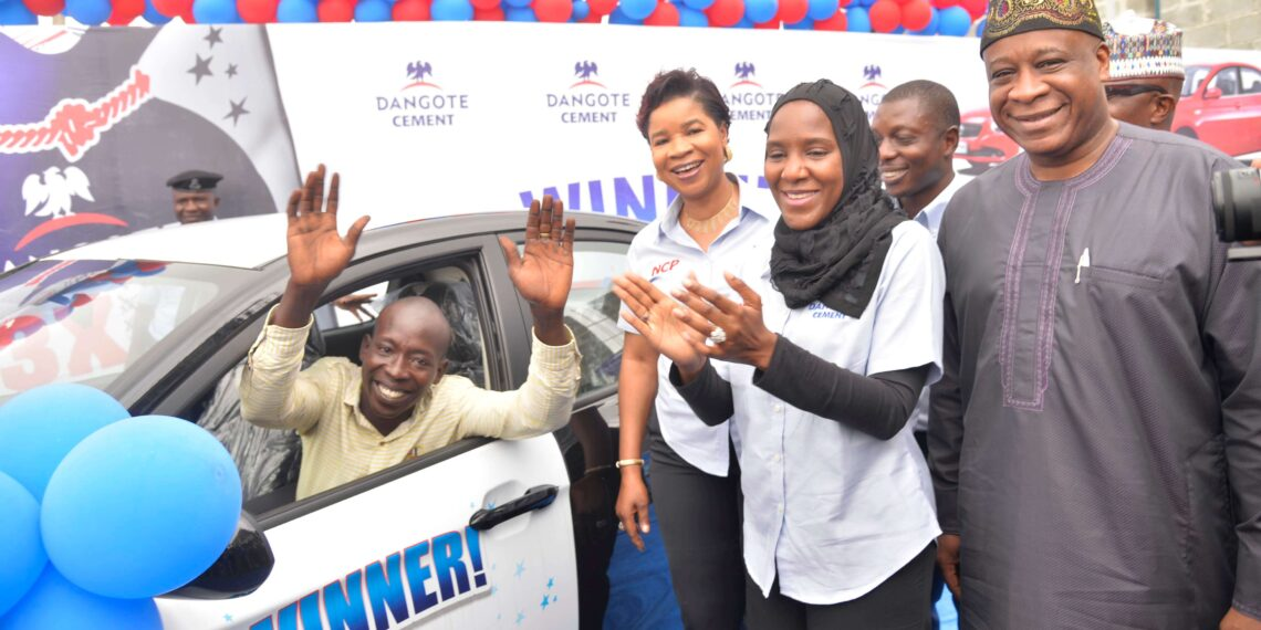 Labourer wins first saloon car in Dangote Cement bags of