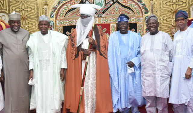 Photos as Asiwaju Tinubu visits Emir of Kano